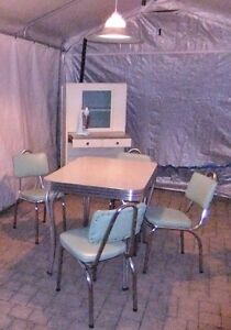 Retro Chrome Dinette Set = Table, 4 chairs & Vintage Larder