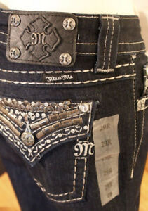 NEW Miss Me Straight Cut Bejewelled Jeans JE5489T3R 29/31
