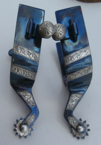 Sterling Silver Stripe Blued BC Horse Show /Training Spurs