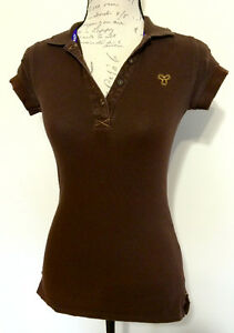 TNA Aritzia Brown Polo T Shirt - Size XS