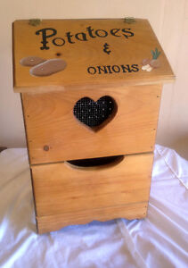 Rustic Solid Wood Potato Onion Box  SEE VIDEO
