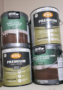4 cans of outdoor paint white and grey