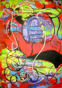 "28x40"" LARGE ORIGINAL ABSTRACT PAINTING ART / NEW / Red Purple Lime Green Black / Expressionist Circles Unique framed"