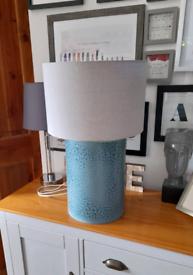 Stunning Large TK Maxx Blue Ceramic Lamp base and Grey Shade