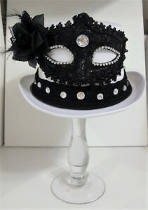White Satin Top Hat with Black Mask