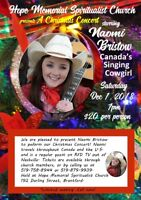 Christmas Concert with Naomi Bristow, Canada's singing cowgirl!