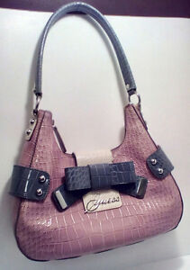 GUESS:  Pretty pink/grey Bow Hobo Purse