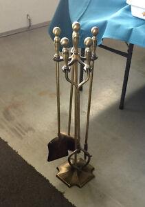 Brass fireplace shovel tongs poker & brush