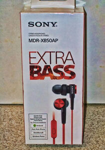 Écouteurs Sony Extra Bass MDR-XB50AP rouge avec microphone- Neuf