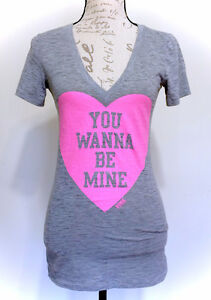 PINK Victoria's Secret NEW Grey Heart Be Mine Shirt - Size Small