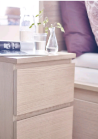 Ikea Malm 2drawer bedside cabinet in white stained oak