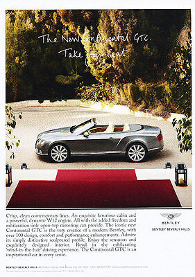 2012 Bentley Continental GTC  -  Classic Vintage Advertisement Ad D08