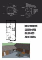 PERMIT DRAWINGS for BASEMENTS, SUNROOMS ONLY $600