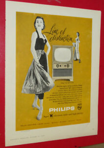 1955 PHILLIPS MODEL 400 TELEVISION VINTAGE AD / ANONCE TV RETRO