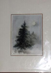 """Sensation d""""Hiver Original Watercolour(?) on paper."""