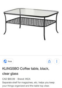 Klingsbo glass coffee table