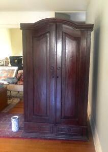 solid wood storage closet  tv/armoire storage  closet, 2 shelves