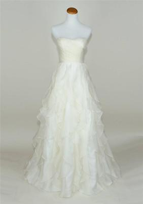 J.CREW $2400 WATERFALL SILK ORGANZA WEDDING GOWN 00 IVORY RUFFLE DRESS