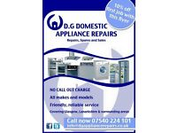 Domestic Appliance Repair - NO CALL OUT CHARGE (washing machines, ovens, fridges, dishwashers etc)