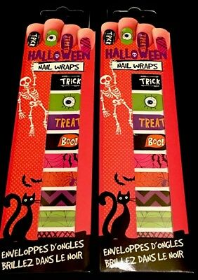 Halloween Nail Wraps - 2 packages Various Spooky Designs by NPW - NIP  - Nail Designs Halloween