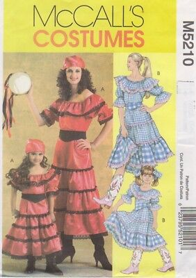 McCall's Pattern #5210 to make Misses' Country Girl  & Gypsy Costumes Sz - Make Gypsy Costume