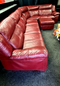 Large Red Real Leather Corner Sofa, all electric recliners
