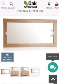 Oak Furniture Land Oakdale Solid Oak Framed Wall Mirror