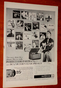 1956 RCA ROCK & ROLL RECORDS AD WITH ELVIS PRESLEY / VINTAGE PUB