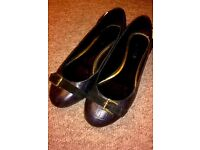 Ralph Lauren Black Croc & Buckle Design Flat Shoes *Sz 6* Only worn twice - like new** rrp £109