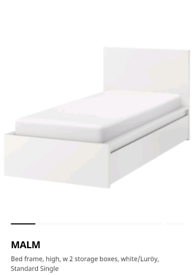 Ikea malm single bed no mattress with drawers