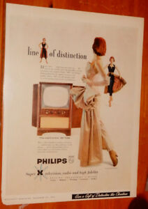1955 PHILLIPS SUPER M TELEVISION CANADIAN AD - ANONCE RETRO 50S