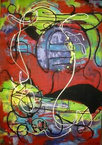LARGE ABSTRACT PAINTING ART by V Koudelka