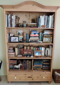 Beautiful Large Antique Display Bookcase Country Pine w/ Drawer