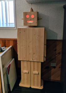 Adorable wooden robot shelf -- one of a kind! $500 OBO.