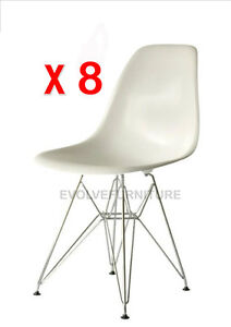 8 x Eames Replica DSR - Eiffel Dining Chair White