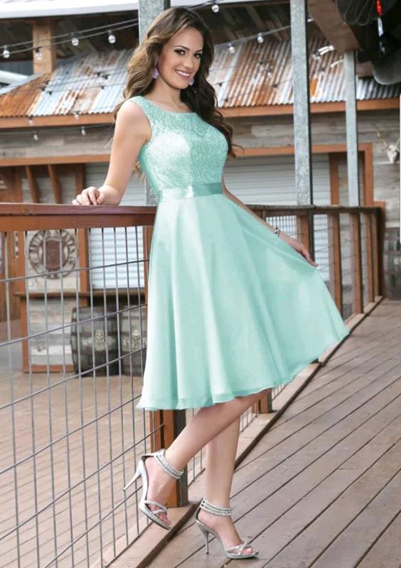 Knee Length Mint Green Bridesmaid Dresses In Blyth