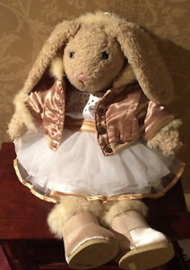 """Cute """"Build a Bear"""" Bunny with Gold Hooded Jacket and Dress"""