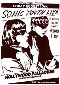 SONIC YOUTH NIRVANA STP HOLLYWOOD PALLADIUM POSTER PRINT 24x33 NEW FREE SHIP