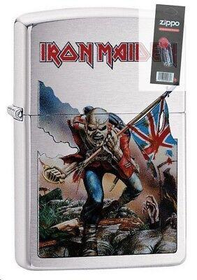 Zippo 29432 Iron Maiden Brushed Chrome Finish Full Size Lighter + FLINT PACK