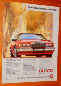 RED 1988 BUICK REGAL COOL RETRO AD - ANONCE AUTO VINTAGE