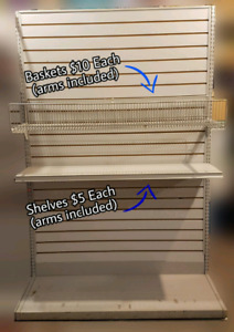 Store Fixtures: Slot Wall Sections, Shelves, Wire Baskets