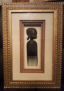 HAND CARVED AFRICAN HAIR COMB IN SHADOWBOX