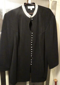BLACK JACKET WITH RHINESTONE COLLAR AND BUTTONS