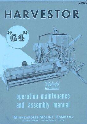 Minneapolis Moline G4 Harvestor Operator Service Manual