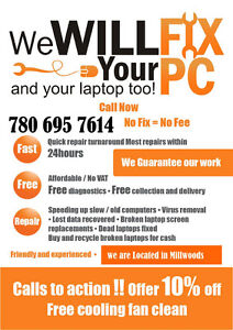 QUICK AND AFFORDABLE COMPUTER REPAIRS CALL NOW 780 695 7614