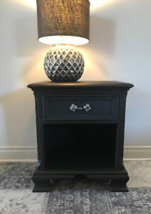 Solid Mahogany nightstand/side table. Hand painted.