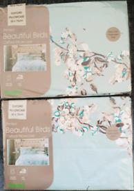 2 x Pillowcases Beautiful Birds Patterned