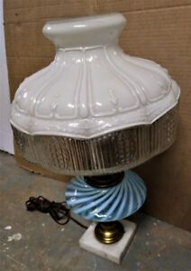 LAMP - Vintage Milk Glass Lantern Lamp - Very Ornate .
