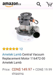 Central Vacuum Replacement Motor