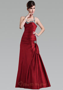 Sexy Halter Prom Dress Bridesmaid Gown Wedding Cocktail Ball Evening Size 6-26